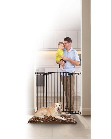 ZOE EXTRA-TALL & EXTRA-WIDE HALLWAY AUTO CLOSE PET SECURITY GATE- BLACK